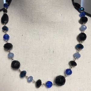 WHBM Blue Black Bead Silver Necklace